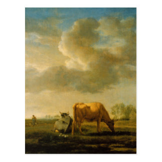 Cows on a Meadow by Adriaen van de Velde Postcard
