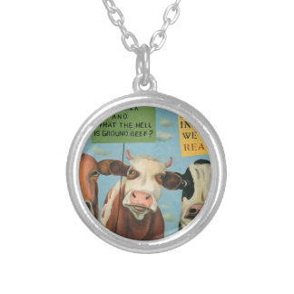 Cows On Strike Silver Plated Necklace