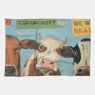 Cows On Strike Tea Towel