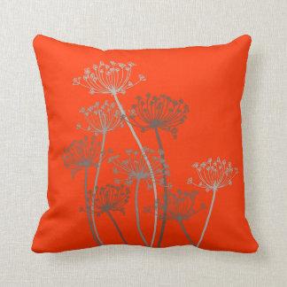 Cows parsley graphic grey brown & orange pillow