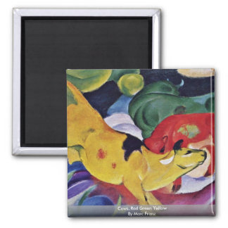 Cows, Red Green Yellow By Marc Franz Fridge Magnet