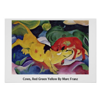 Cows, Red Green Yellow By Marc Franz Poster