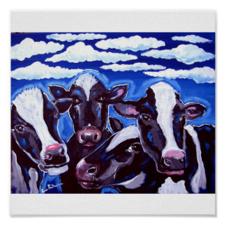 Cows Vegetarian Colorful Folk Art Poster