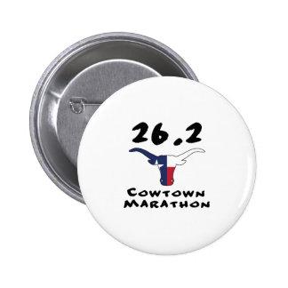 cowtown marathon 6 cm round badge
