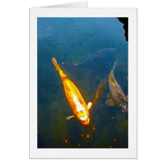 Coy Fish Pond Art Blank Card