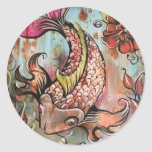 Coy Koi by Shadia Round Stickers