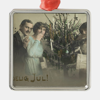 Coy Women Vintage Postcard Christmas Greetings Silver-Colored Square Decoration