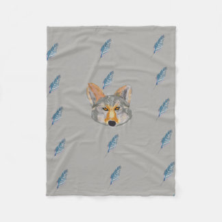 Coyote and Feather Tile Fleece Blanket