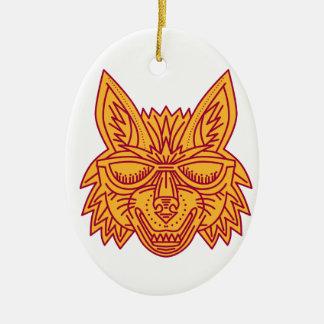 Coyote Head Sunglasses Smiling Mono Line Ceramic Ornament