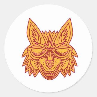 Coyote Head Sunglasses Smiling Mono Line Classic Round Sticker