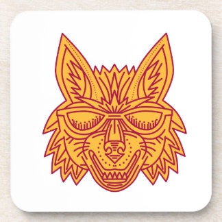 Coyote Head Sunglasses Smiling Mono Line Coaster