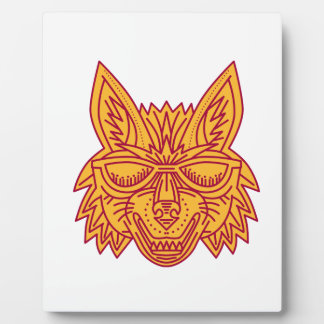 Coyote Head Sunglasses Smiling Mono Line Plaque