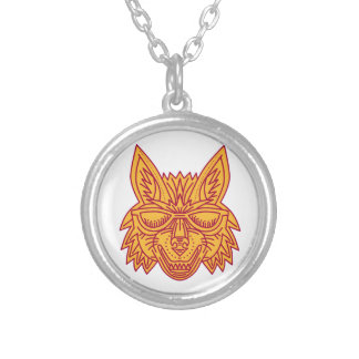 Coyote Head Sunglasses Smiling Mono Line Silver Plated Necklace
