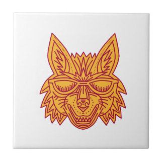 Coyote Head Sunglasses Smiling Mono Line Tile