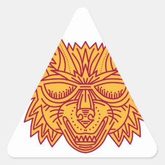 Coyote Head Sunglasses Smiling Mono Line Triangle Sticker