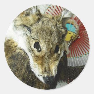 Coyote Headdress Round Sticker