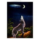 Coyote Howling at the Moon Card
