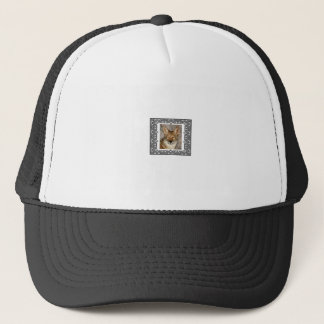 coyote in a frame trucker hat