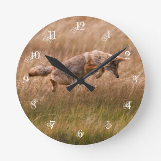Coyote Leaping - Gibbon Meadows Wallclock