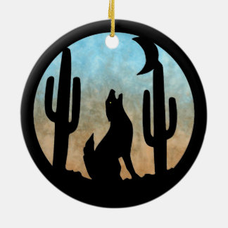 Coyote Moon Round Ornament