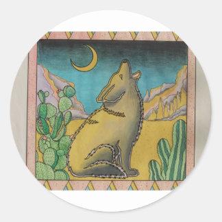 Coyote Moon Scene Classic Round Sticker