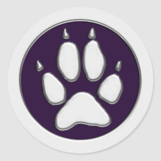 COYOTE PAW PRINT CLASSIC ROUND STICKER