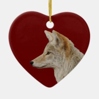 coyote profile ceramic heart decoration
