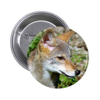 Coyote Pup Profile 6 Cm Round Badge