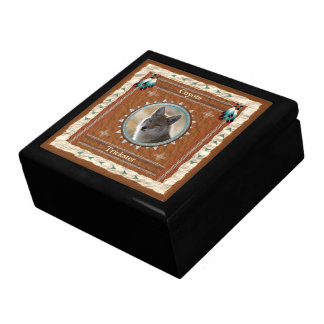 Coyote  -Trickster- Wood Gift Box w/ Tile