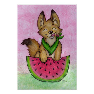 Coyote With Watermelon Print
