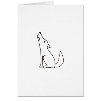 Coyote wolf dog howling - fun ink line drawing art card