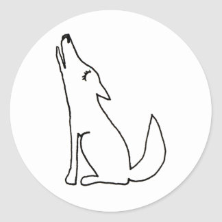 Coyote wolf dog howling - fun ink line drawing art round sticker