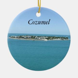 Cozumel Blue Water Tropical Ornamement Round Ceramic Decoration