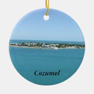 Cozumel Island Blue Water Tropical Round Ceramic Decoration
