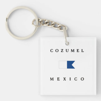 Cozumel Mexico Alpha Dive Flag Key Ring