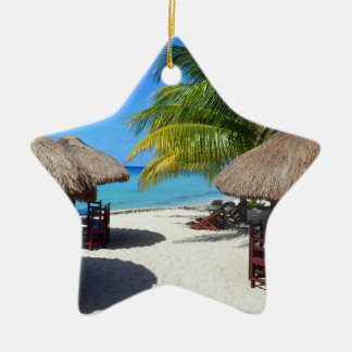 Cozumel Mexico Beach Hut Palm Tree Teal Water Vaca Ceramic Star Decoration