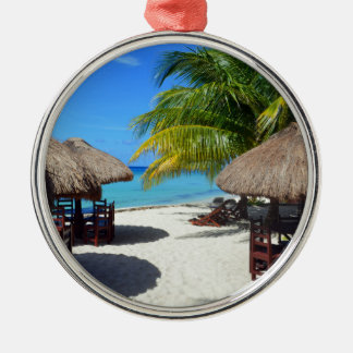 Cozumel Mexico Beach Hut Palm Tree Teal Water Vaca Silver-Colored Round Decoration