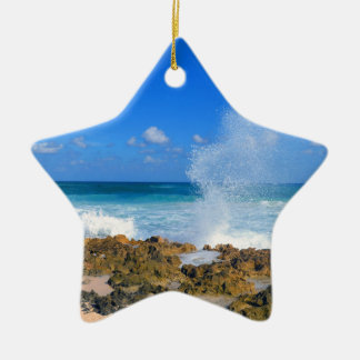 Cozumel Mexico Beach Wave Splash Water Spout Teal Ceramic Star Decoration