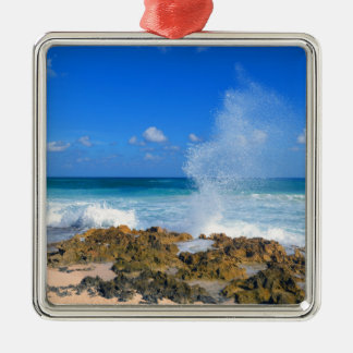 Cozumel Mexico Beach Wave Splash Water Spout Teal Silver-Colored Square Decoration