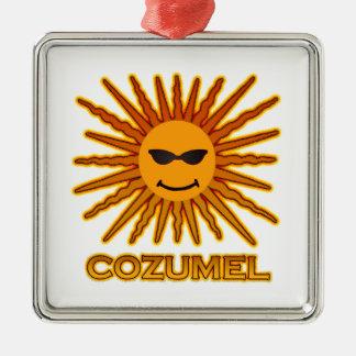 Cozumel Mexico Sun Face Silver-Colored Square Decoration