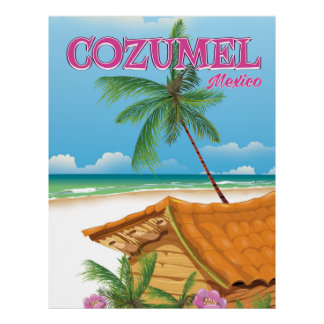 Cozumel Mexico Vintage travel poster print