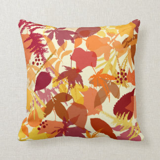 Cozy Autumn Leaves Pattern Pillow