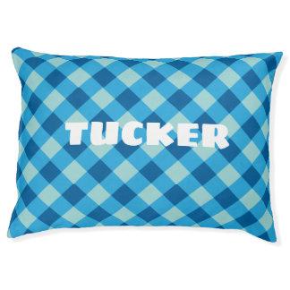 Cozy Blue Plaid Custom Indoor Dog Pillow. Pet Bed