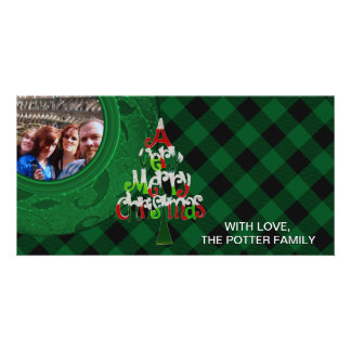 Cozy Buffalo Plaid Green   Custom Photo Card