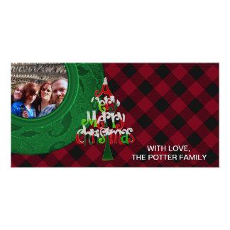 Cozy Buffalo Plaid Green Red Merry Christmas Card