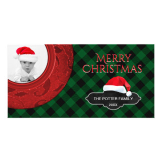 Cozy Buffalo Plaid Green Red | Santa Holiday Photo Card