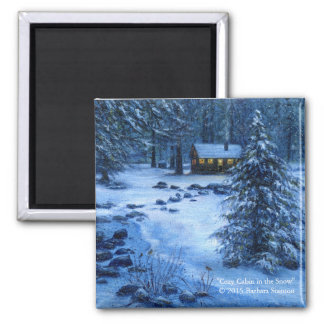 """Cozy Cabin in the Snow"" Magnets"