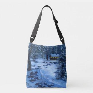 """Cozy Cabin in the Snow"" Tote Bag"