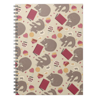 Cozy Cat Lovers Collage Spiral Notebook