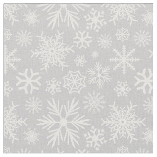 Cozy Chic Gray Winter Snowflakes Pattern Fabric